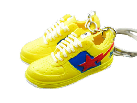 Mini 3D sneaker keychains BAPE - Yellow Blue Red
