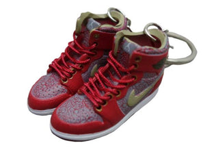Mini sneaker keychain 3D Air Jordan 1 - red elephant prints and olive