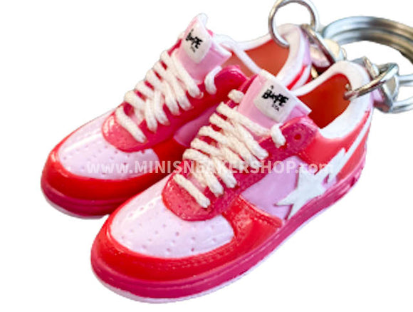 Mini 3D sneaker keychains BAPE - Pink Red