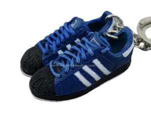 mini 3D sneaker keychains Adidas Superstar Blue Black