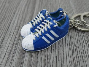 mini 3D sneaker keychains Adidas Superstar 2 White Blue