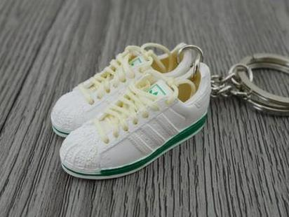 mini 3D sneaker keychains Adidas White Green
