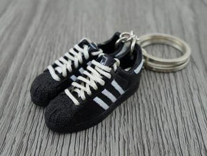 mini 3D sneaker keychains Adidas Superstar Black and White