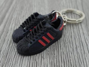 mini 3D sneaker keychains Adidas Superstar 35th Black and red