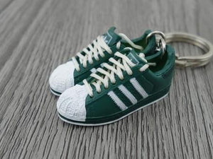 mini 3D sneaker keychains Adidas Superstar Green White