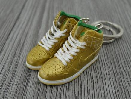 Mini sneaker keychain 3D Nike Dunk - Gold Green