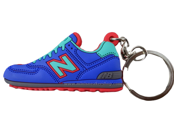Flat Silicon Sneaker Keychain NB Blue/Red/Turquoise