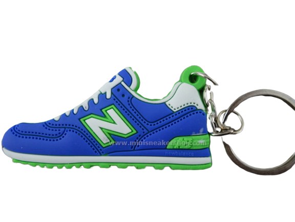 Flat Silicon Sneaker Keychain NB Blue Green