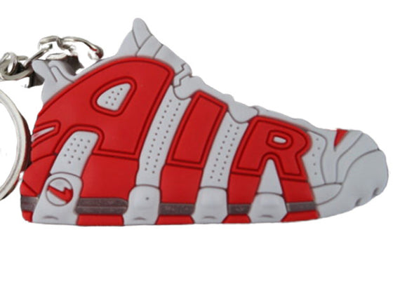 Flat Silicon Sneaker Keychain Nike Uptempo Red White