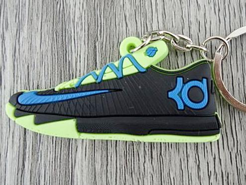 Flat Silicon Sneaker Keychain KD - Black/Blue/Neon Yellow