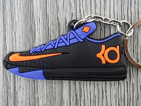 Flat Silicon Sneaker Keychain KD - Black/Blue/Orange