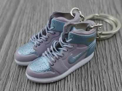 Mini sneaker keychain 3D Air Jordan 1 - Soft Blue/Aluminium