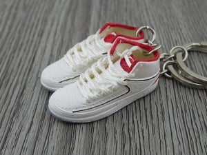 Mini Sneaker Keychains Air Jordan 2 - OG White Red (1986)
