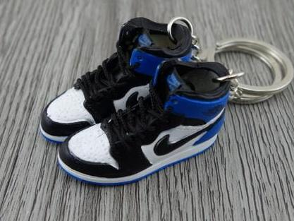 Mini sneaker keychain 3D Air Jordan 1 - White Black Royal