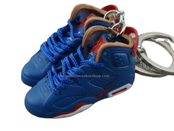Mini Sneaker Keychains Air Jordan 6 - Blue/Burgundy