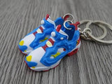Mini 3D sneaker keychains Reebok Insta Pump Fury Blue White Red