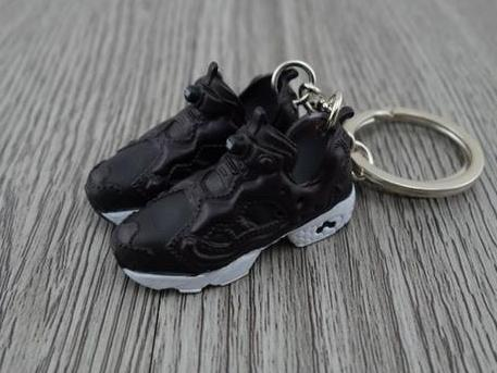 Mini 3D sneaker keychains Reebok Insta Pump Fury Black White