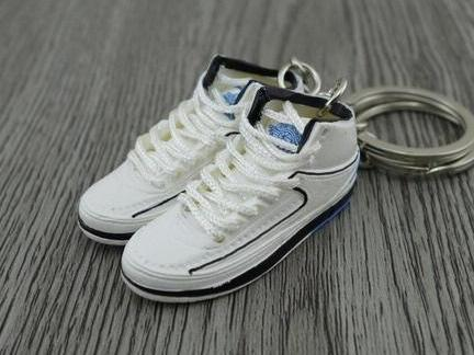 Mini Sneaker Keychains Air Jordan 2 - White and Blue