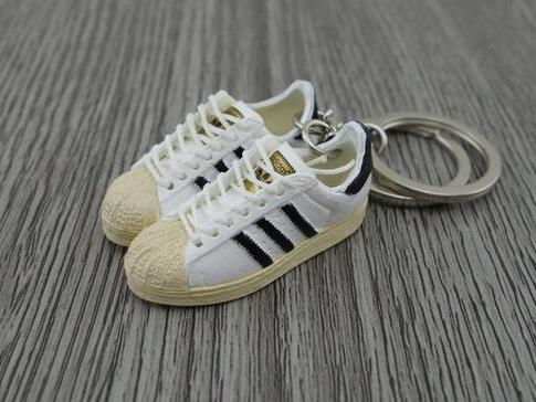 mini 3D sneaker keychains Adidas Superstar OG Black White