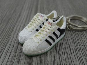mini 3D sneaker keychains Adidas Superstar OG Black White Green