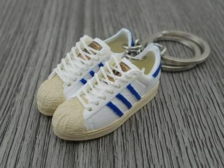 mini 3D sneaker keychains Adidas Superstar OG White/Blue