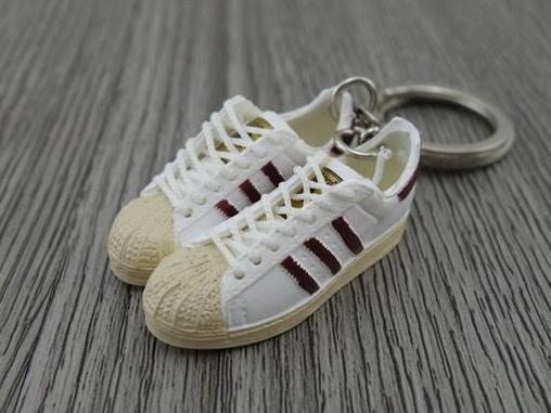 mini 3D sneaker keychains Adidas Superstar OG White Burgandy