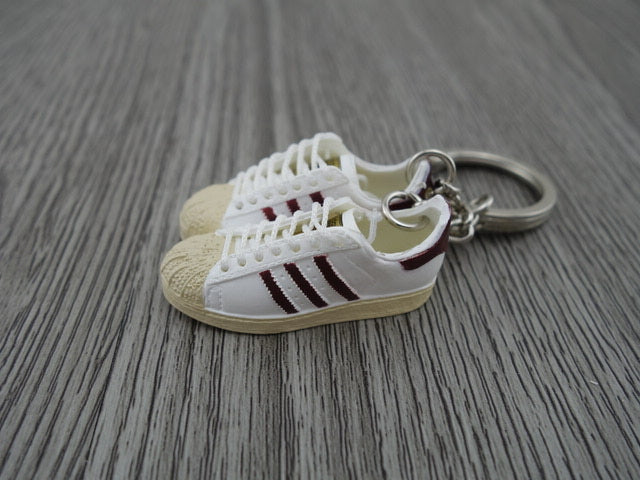 aaa01dad25e mini 3D sneaker keychains Adidas Superstar OG White Burgandy – Mini ...