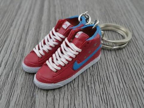 mini 3D sneaker keychains Nike Blazer - Red/Blue