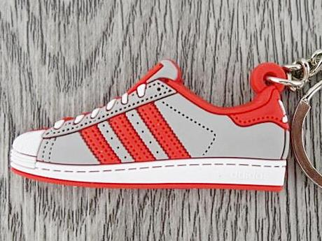 Flat Silicon Sneaker Keychain Adidas Superstar Grey Red White