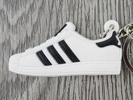 Flat Silicon Sneaker Keychain Adidas Superstar OG Black White