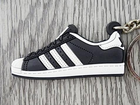 Flat Silicon Sneaker Keychain Adidas Superstar Black and White