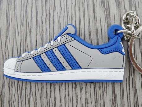 Flat Silicon Sneaker Keychain Adidas Superstar Grey Royal Blue