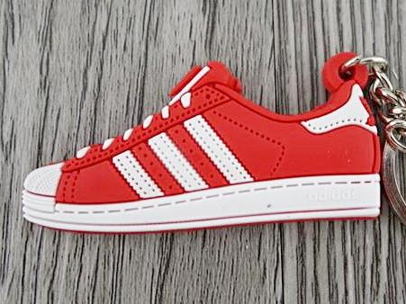 Flat Silicon Sneaker Keychain Adidas Superstar Red