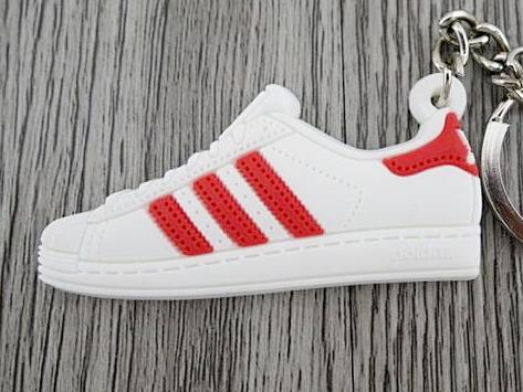 Flat Silicon Sneaker Keychain Adidas Superstar White red