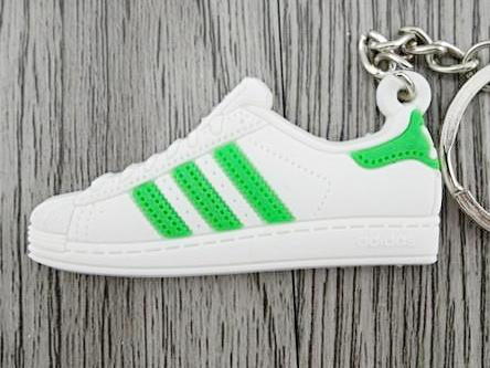 Flat Silicon Sneaker Keychain Adidas Superstar Green White