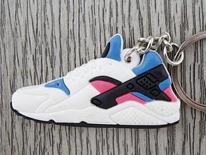 Flat Silicon Sneaker Keychain Nike Huarache - White/Blue/Pink