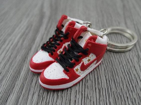 Mini sneaker keychain 3D Nike Dunk Hi - Supreme RED