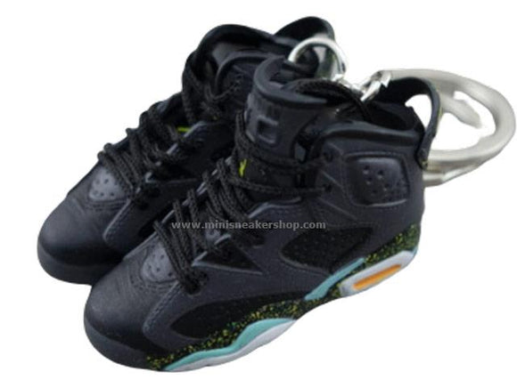 Mini Sneaker Keychains Air Jordan 6 - Black / Neon Green