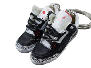 Mini Sneaker Keychains HQ AJ 3  - Black Cement