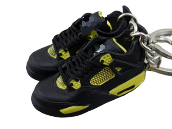 Mini Sneaker Keychains AJ 4  - Black Yellow