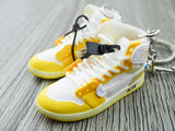 Mini sneaker keychain 3D Air Jordan 1 x OW inspired Yellow ( Unreleased sample)