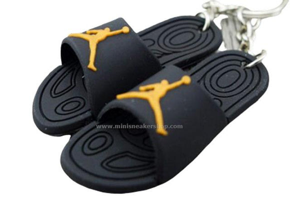 mini 3D sneaker keychains Flip Flops - Jordan black and gold sandals