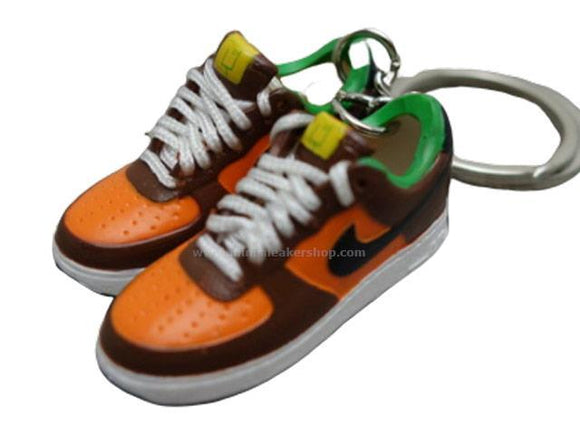 Mini Sneaker 3D keychains Nike Air Force  - Brown-Green-Orange