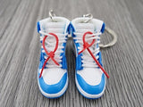 Mini sneaker keychain 3D Air Jordan 1 x OW inspired UNC (University Blue)