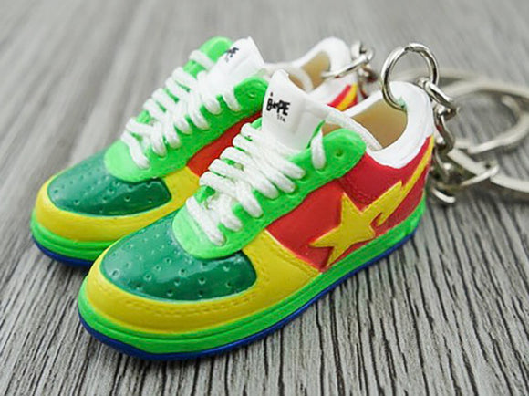 Mini 3D sneaker keychains BAPE - Yellow Red Green