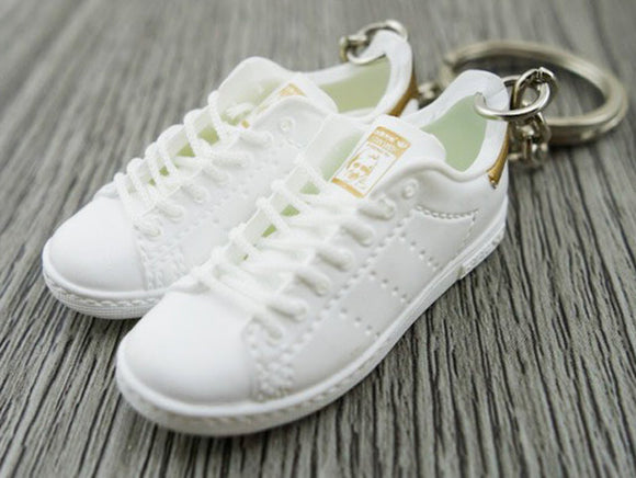 Mini 3D sneaker keychains Adidas Stan Smith - White and Copper