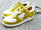 Mini 3D sneaker keychains BAPE Gold and White
