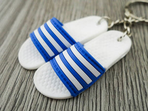 mini 3D sneaker keychains Flip Flops Adidas Sandals Blue and White