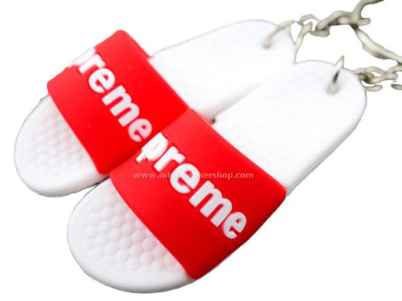 mini 3D sneaker keychains Flip Flops - Sandals White/Red