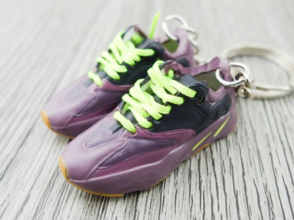 Mini Sneaker Keychains Adidas Yeezy Boost 700 - MAUVE with yellow laces